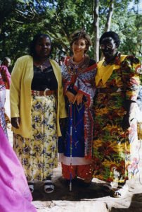 Dressed as a Masai woman by Kenyan entrepreneurs. Summer 1997