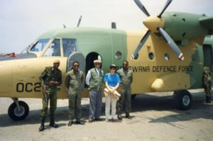 With Ambassador Howard Jeter and members of the Bostwana Defense Forces October 1993
