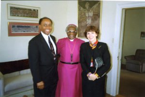 With Desmond Tutu and a Foreign Service colleague October 1993