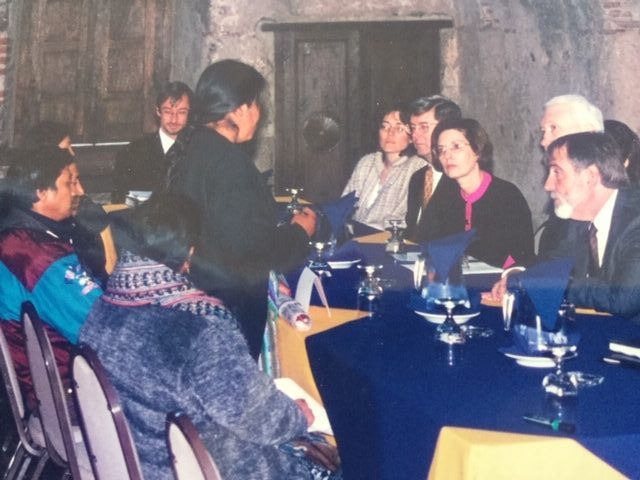 Ambassador Bushnell and I conferring with Mayan community leaders